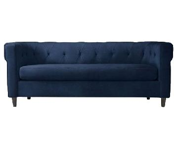 West Elm Velvet Tufted Chester Sofa in Ink Blue