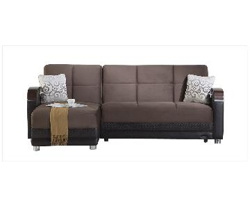 Futonland Convertible Brown Suede Sectional Sofa