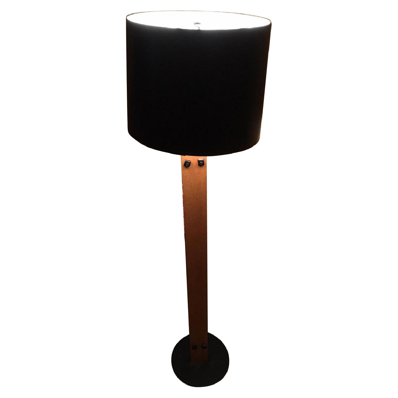 Mid Century Wood Slat Floor Lamp