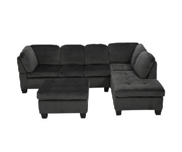 Noble House 3 Piece Charcoal Sectional Sofa