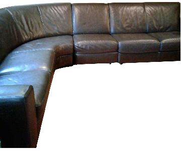 Natuzzi Brown Leather 4-Piece Sectional Sofa