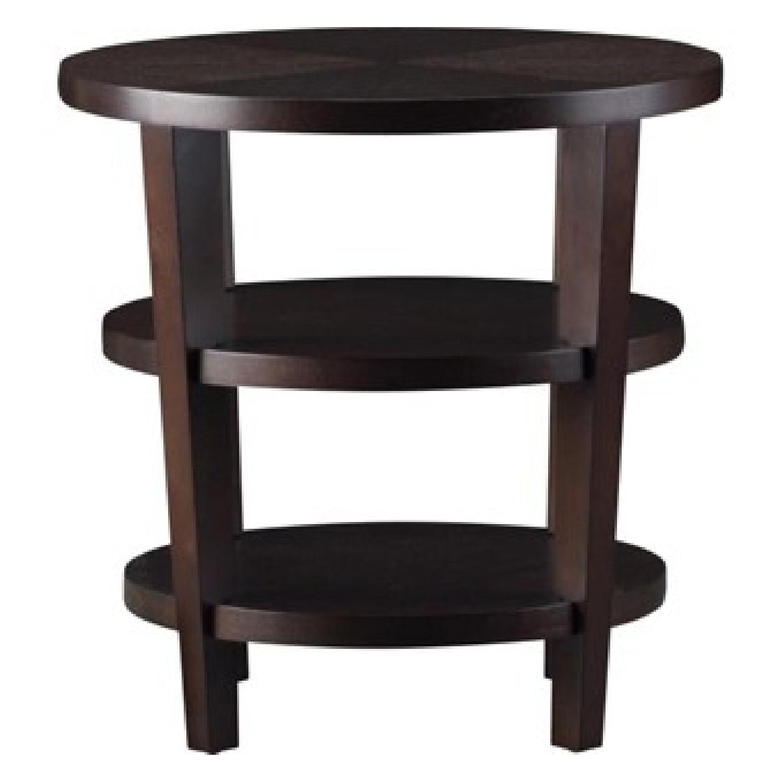 Crate & Barrel Vintage Art Deco Round Wood Side Table