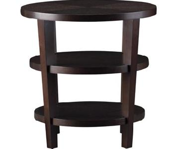 Crate & Barrel Vintage Art Deco Round Wood Side Table