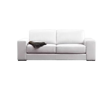 Natuzzi Clark White Leather Sofa