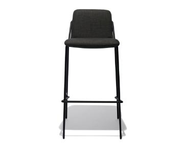 Industry West Sling Bar Stools Upholstered in Black/Gray