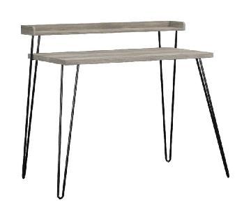 Ameriwood Home Haven Retro Desk w/ Riser in Weathered Oak