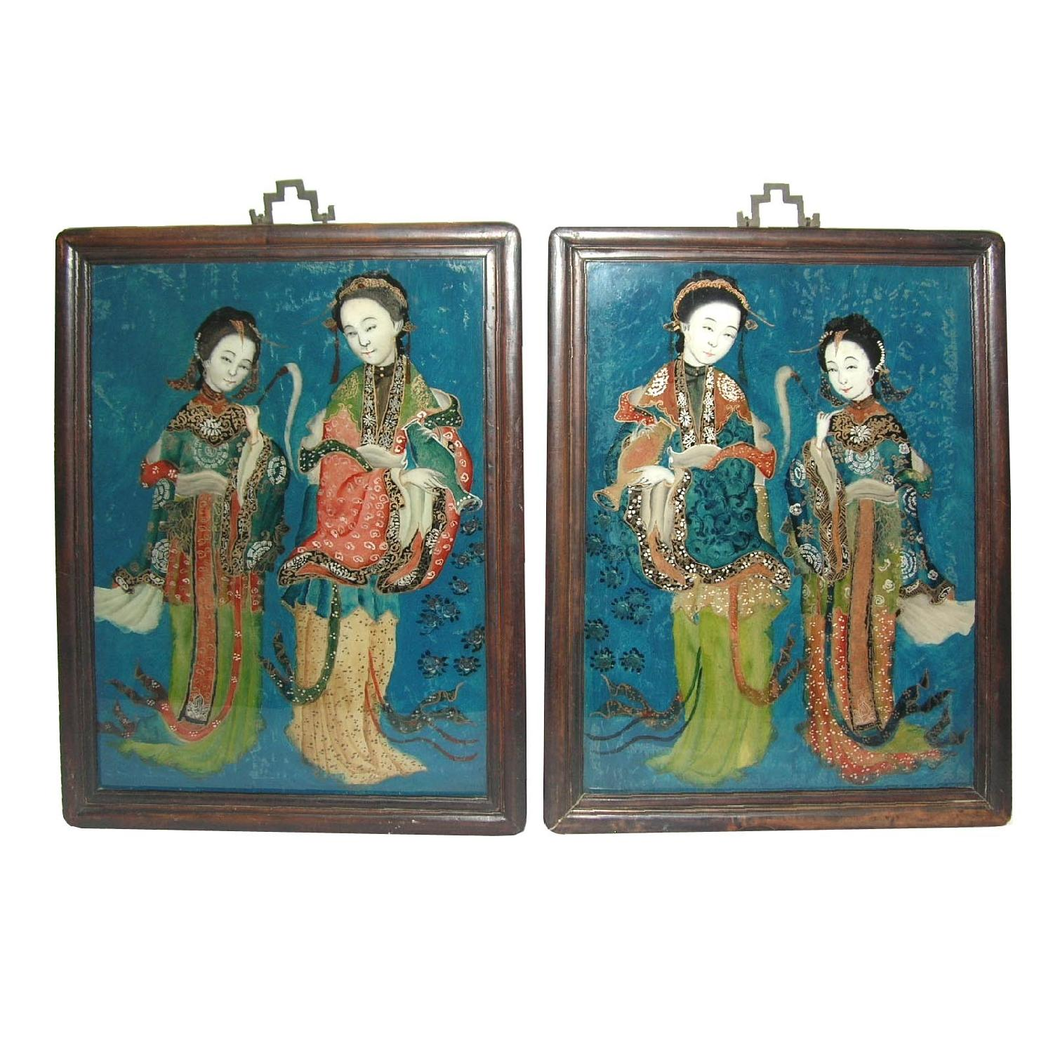 Antique Chinese Reverse Glass Paintings of Beauties