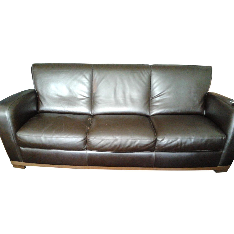 Raymour Flanigan Natuzzi Italia Brown Leather Sofa Aptdeco