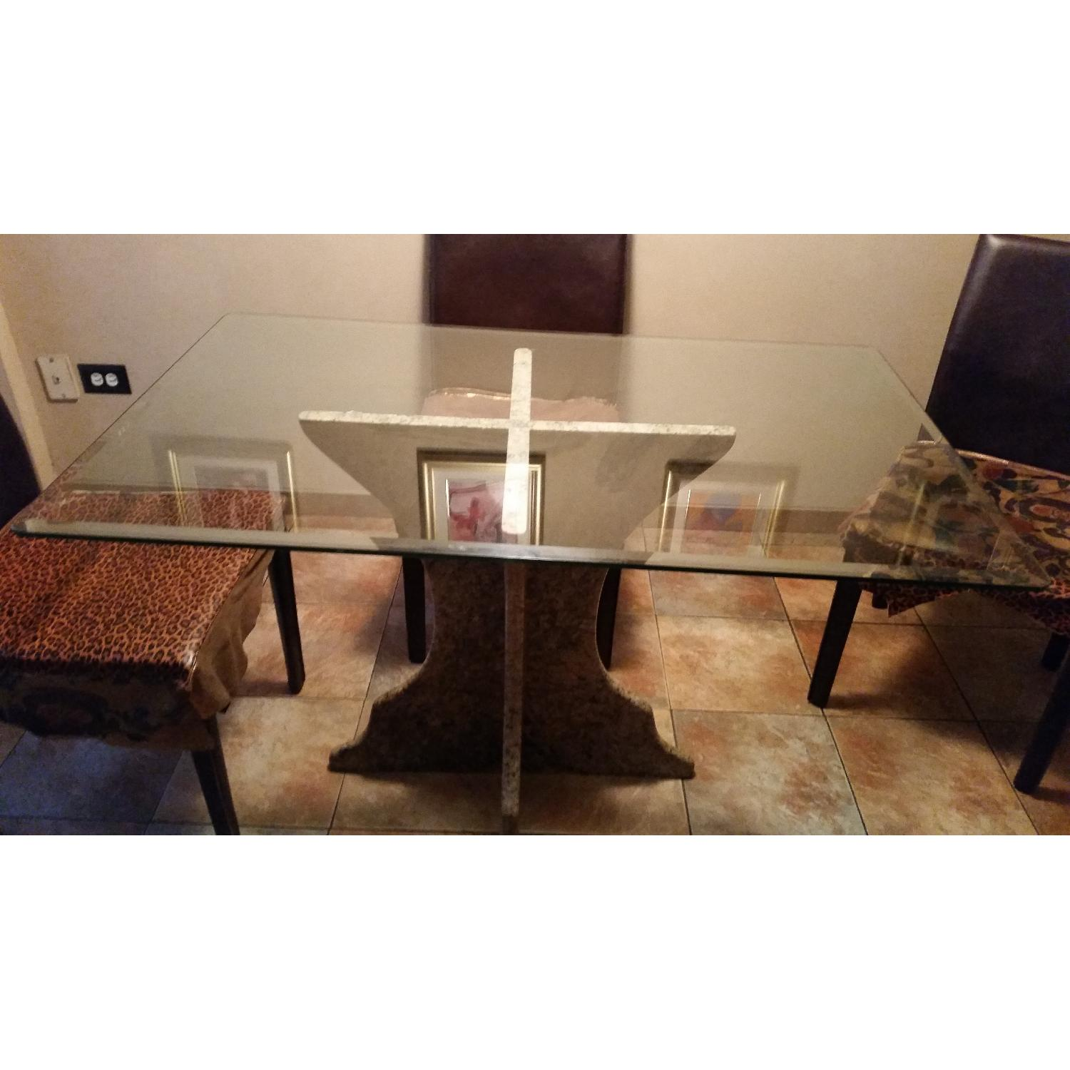 Custom Table w/ Marble Base & Glass Table Top-0
