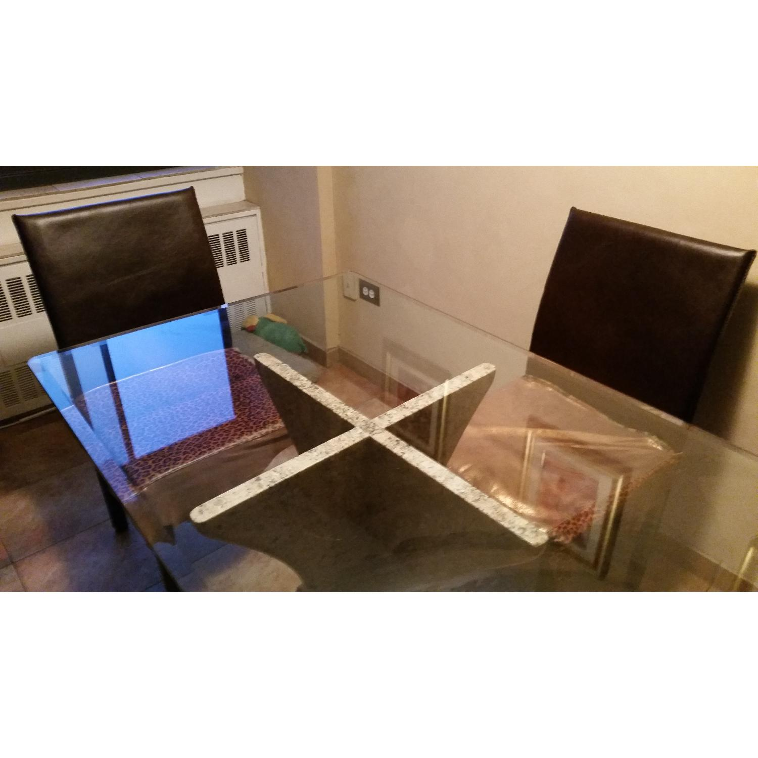 Custom Table w/ Marble Base & Glass Table Top-1
