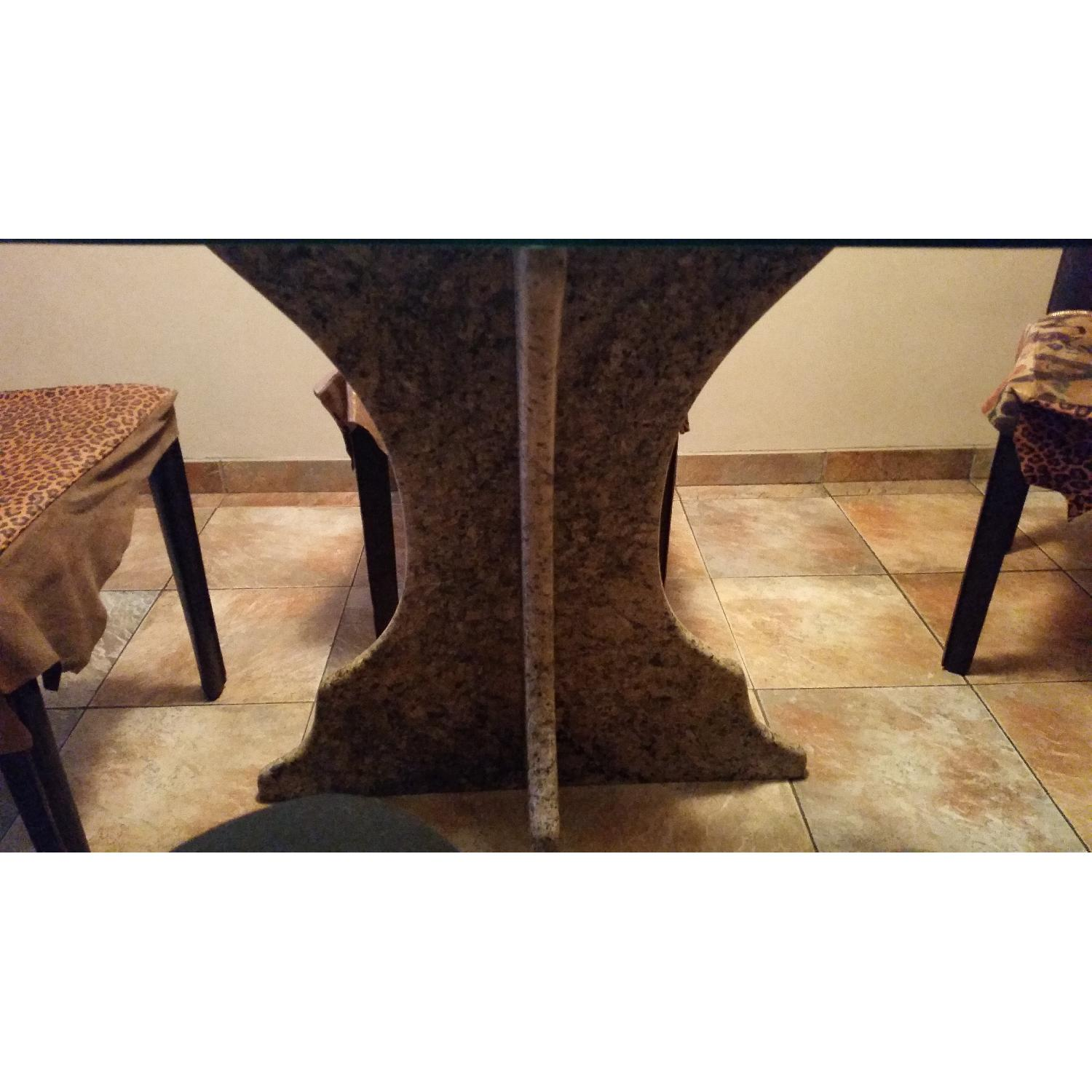 Custom Table w/ Marble Base & Glass Table Top-2