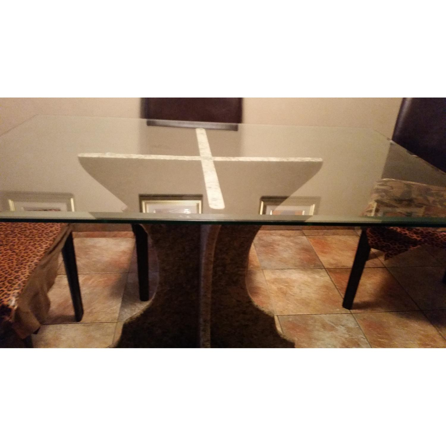 Custom Table w/ Marble Base & Glass Table Top-3