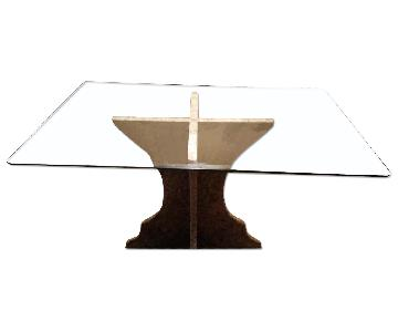 Custom Table w/ Marble Base & Glass Table Top