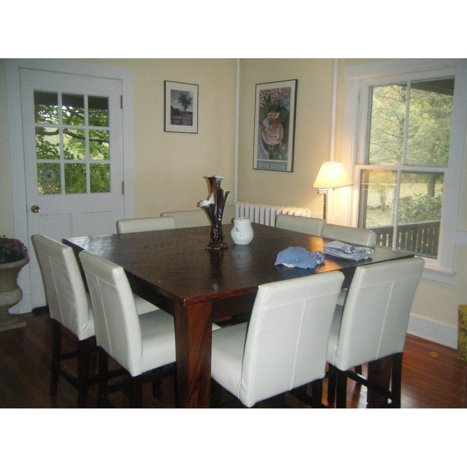 Picture of: Abc Carpet Home Solid Wood Bar Height Dining Table W 8 Leather Chairs Aptdeco