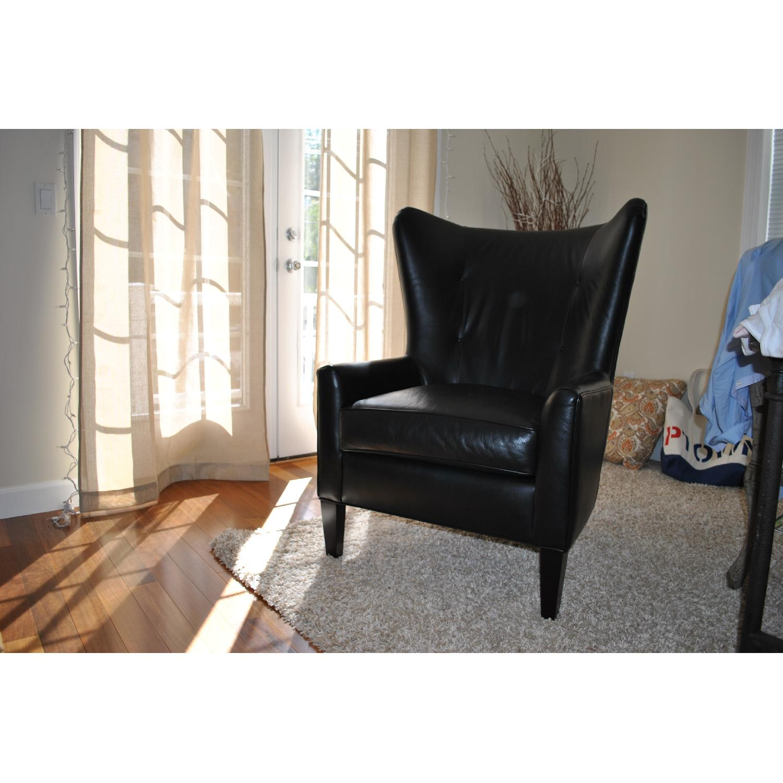 ... Nichols U0026 Stone Leather Wingback Chair 2