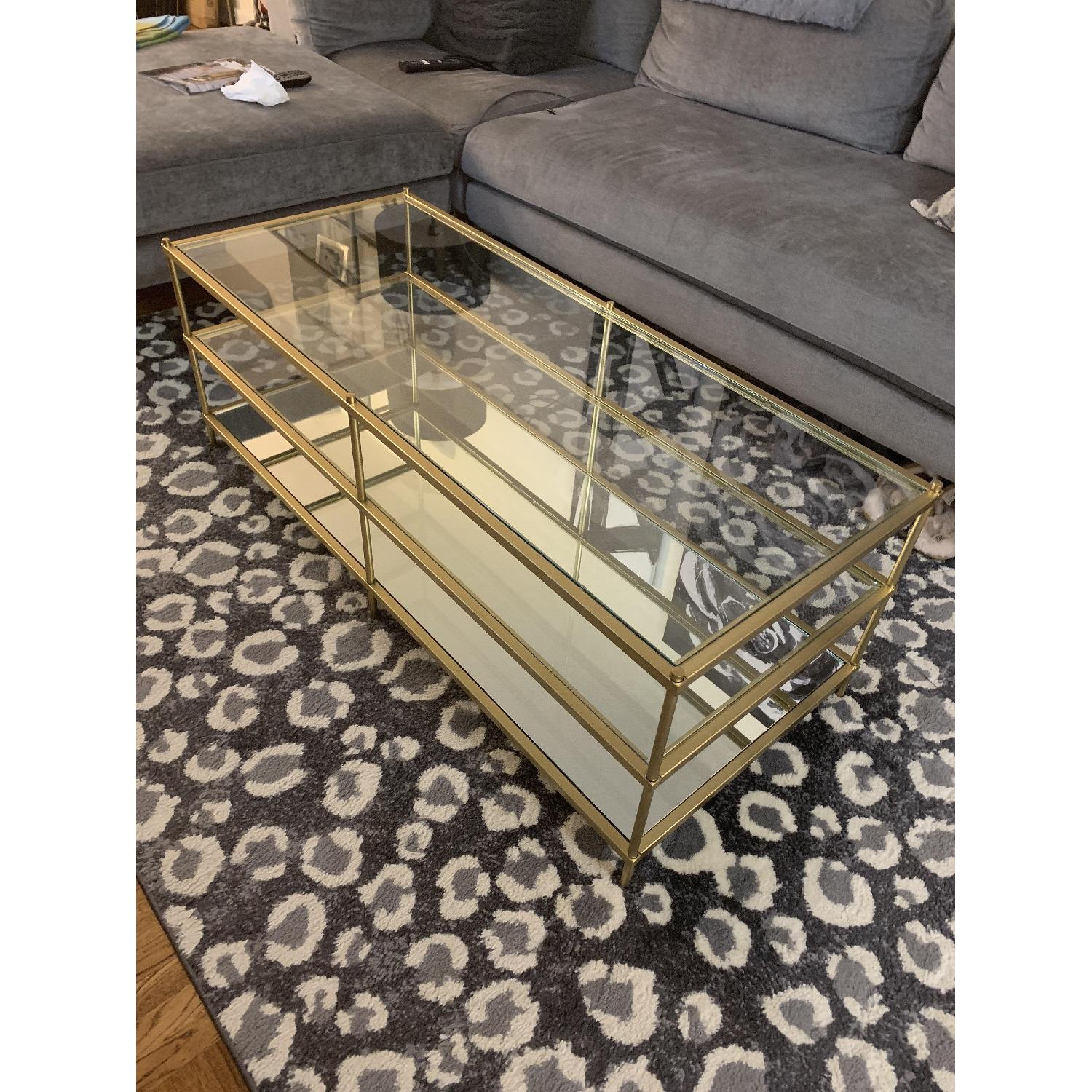 West Elm 3 Tier Glass/Gold Coffee Table-0