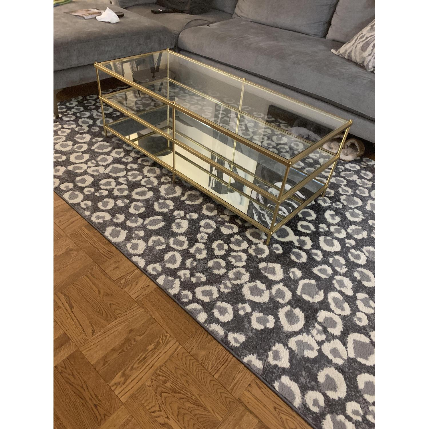 West Elm 3 Tier Glass/Gold Coffee Table-1