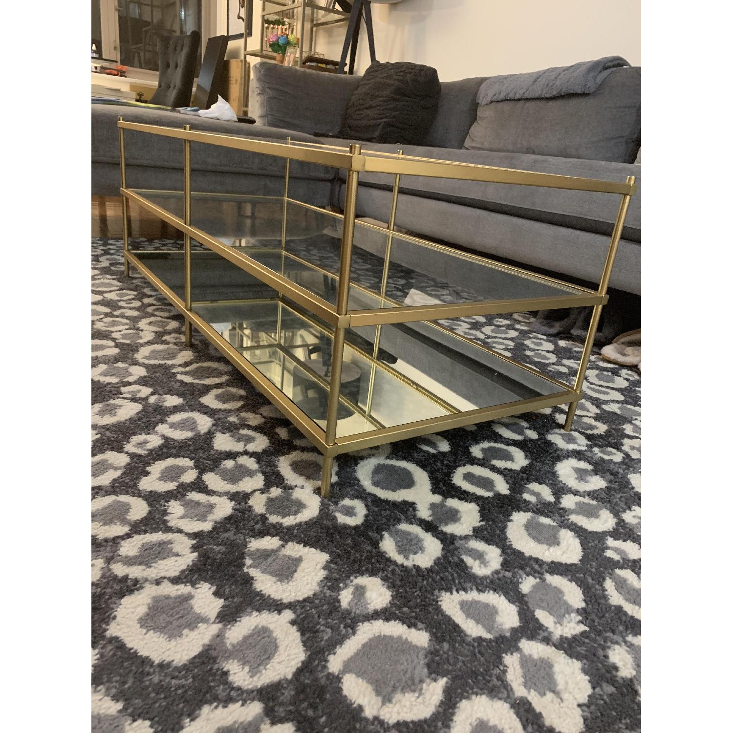 West Elm 3 Tier Glass/Gold Coffee Table-2