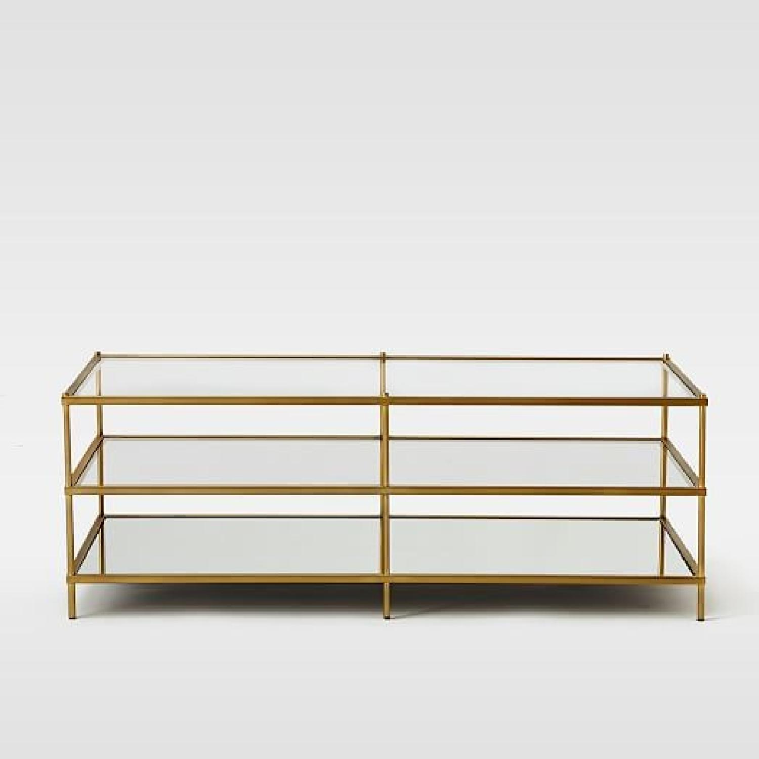 West Elm 3 Tier Glass/Gold Coffee Table-3