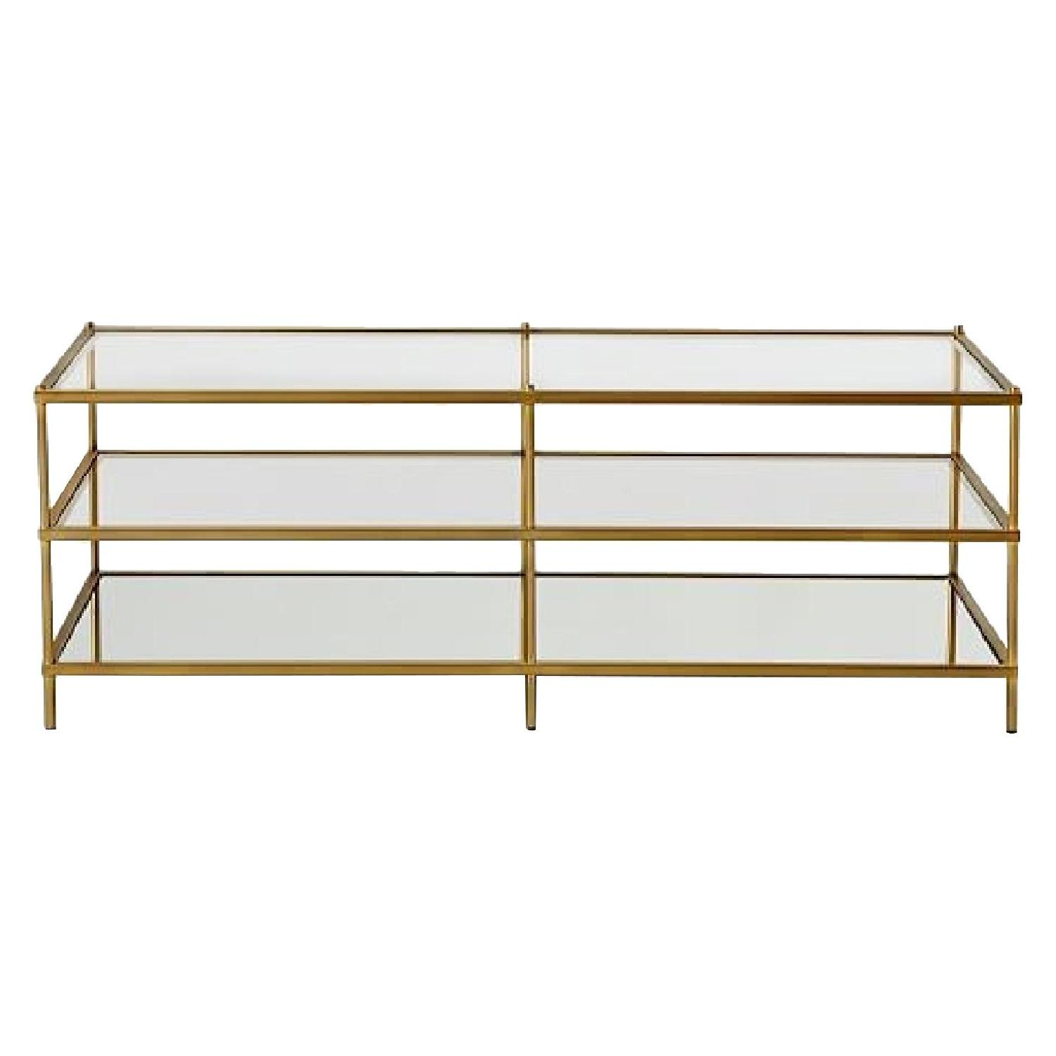 West Elm 3 Tier Glass/Gold Coffee Table