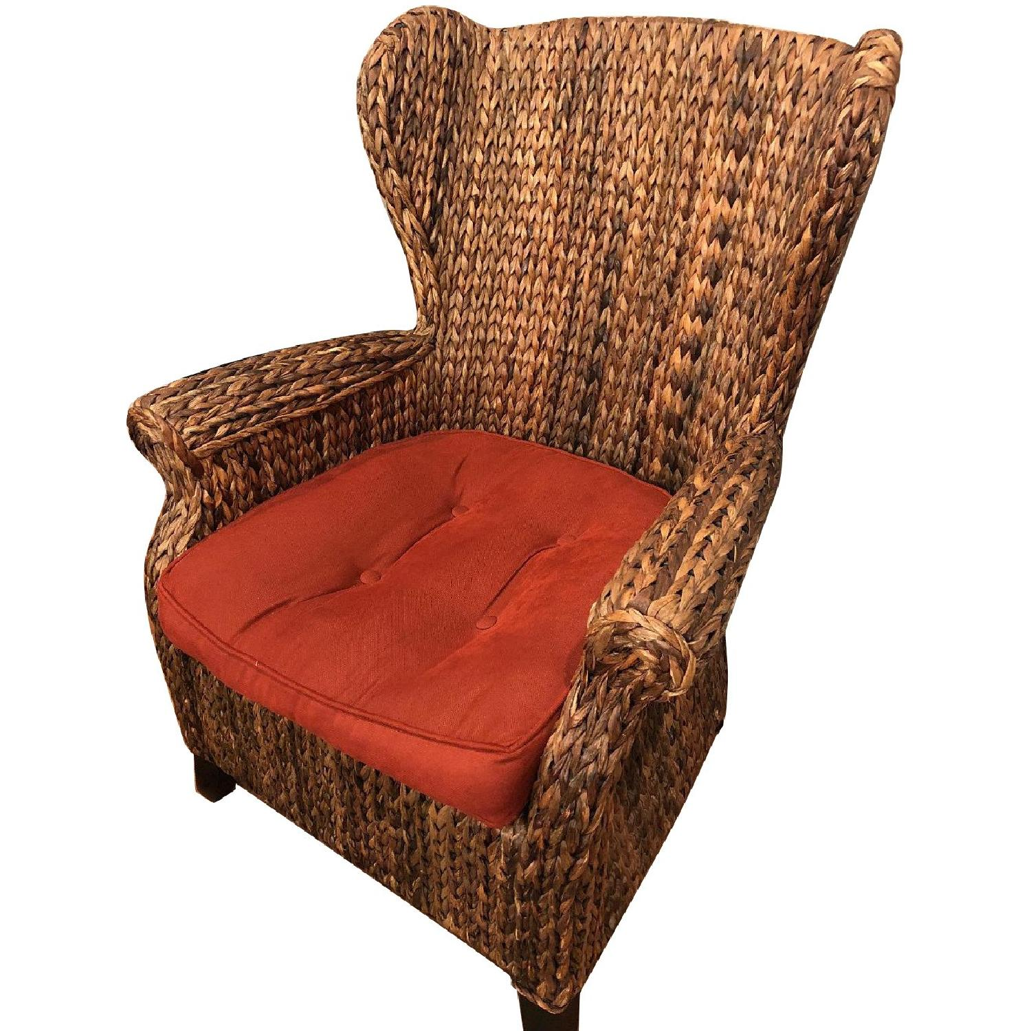 Pier 1 Wicker Wingback Chair in Mahogany