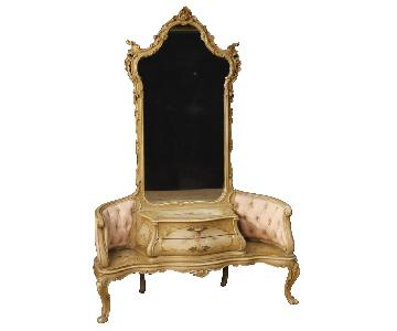 Painted & Lacquered Venetian Cheval Mirror