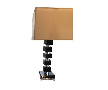 Jadh Studios Wood & Lucite Stacked Table Lamps