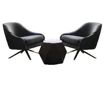 West Elm Brass Table w/ 2 Swivel Chairs in Nickel Velvet