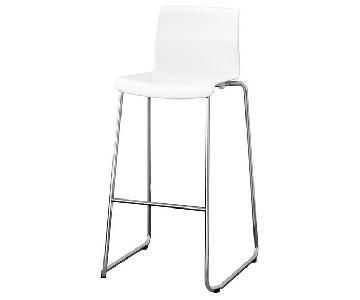 Ikea White Chrome Steel Bar Stools