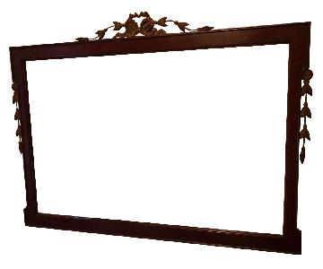 Antique 1930s Bronze & Mahogany Framed Wall Mirror