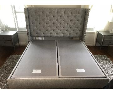 Bassett Heather Grey California King Tufted Wing Bed