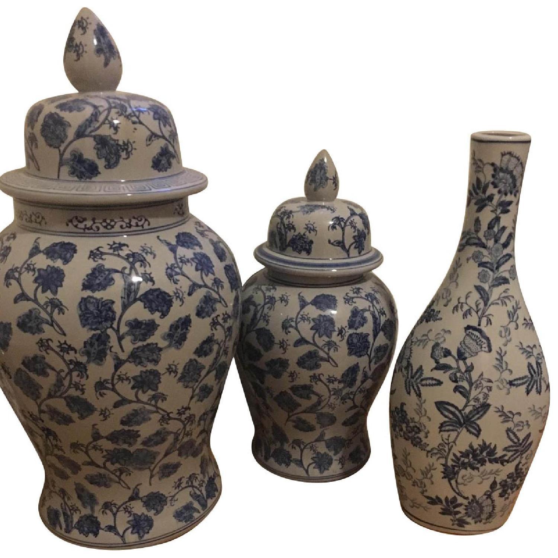 Large Blue & White Vases