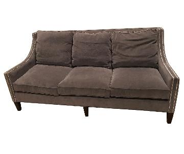 Wesley Hall Nailhead Custom Microsuede Sofa