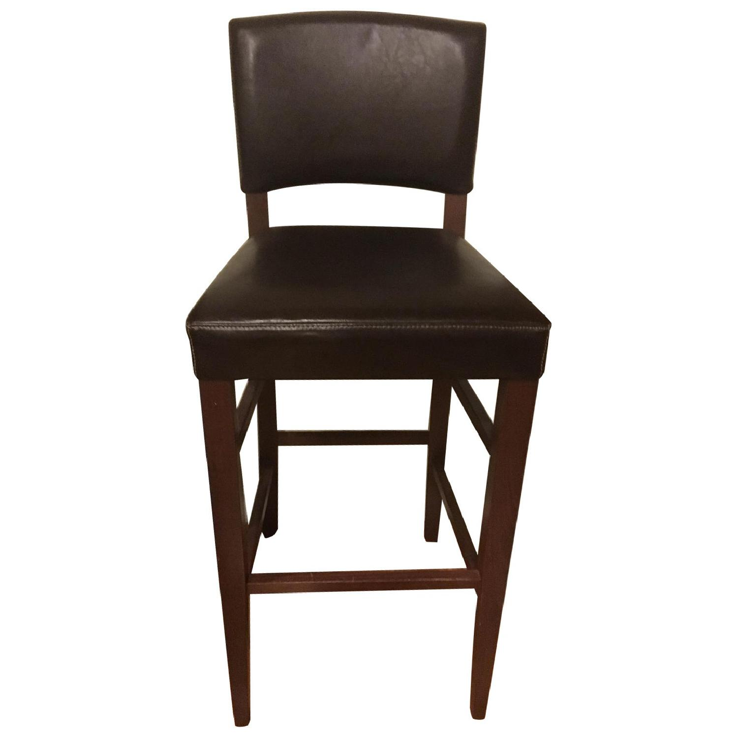 Pier 1 Brown Wood & Leather Bar Stools