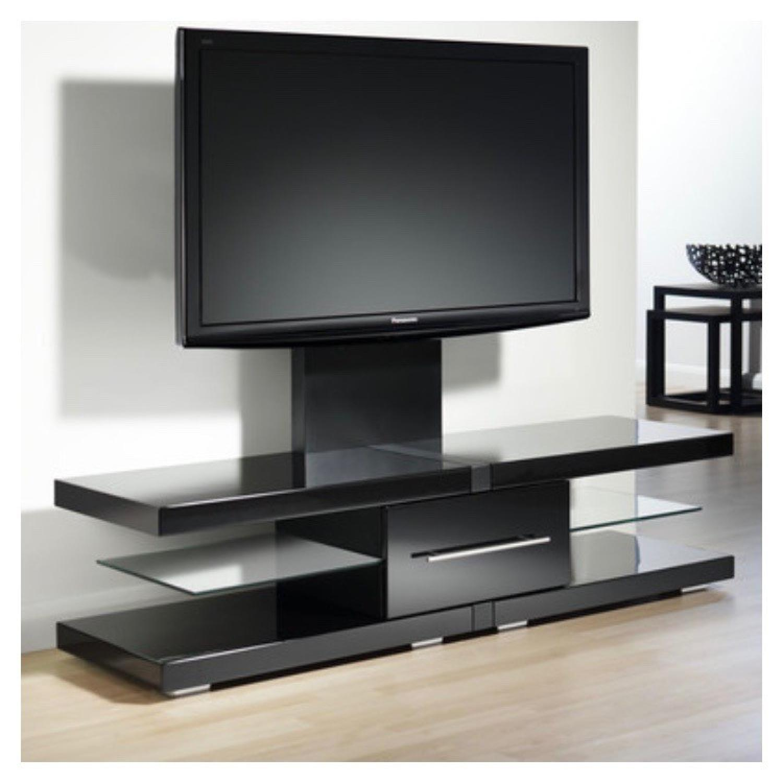 Modern TV Stand w/ Center Drawer & 2 Glass Shelves