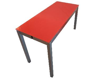 Orange Glass Folding Dining Table
