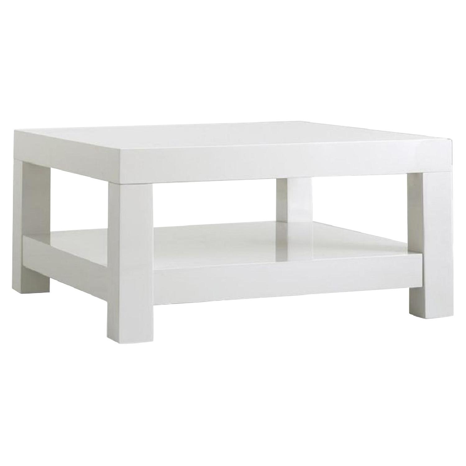 West Elm White Lacquer Coffee Table Aptdeco