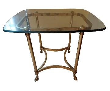 Glass Top Side Tables w/ Golden Legs