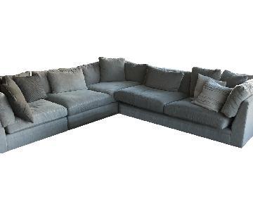 Arhaus Grey Fabric 2-Piece Sectional Sofa