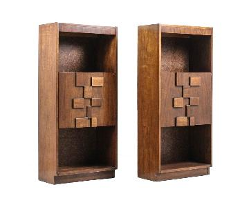 Lane Furniture Brutalist Mid Century Bookcases