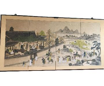 Asian 4 Panel Screen Painting