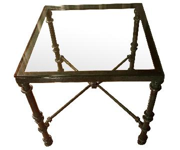 Green Metal End Table w/ Glass Top