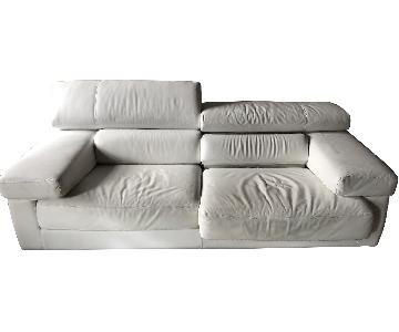 Modloft White 2-Seat Leather Sofa