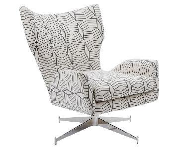 West Elm Hemming Danish Modern Swivel Base Arm Chair