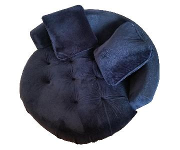 Classic Royal Blue Velvet Barrel Chair