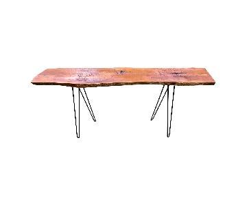 Live Edge Oak Console Table w / Hairpin Legs