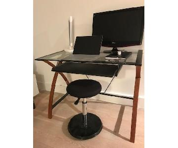 Glass & Wood Office Desk