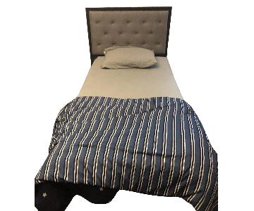 Brown Gray Upholstered Twin Size Bed