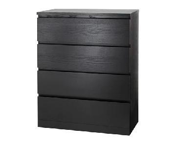 Ikea Malm 4 Drawer Dresser in Black Brown
