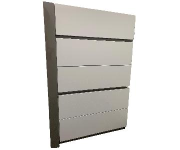 Modern White Grey Lacquer 5 Drawer Dresser